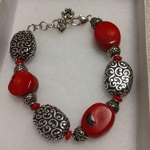 BRIGHTON Full Moon Rising Red Coral Bracelet